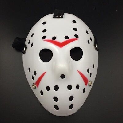 Deluxe Hard Plastic Halloween Horror Jason Ice-Hockey COSTUME MASK Solid White