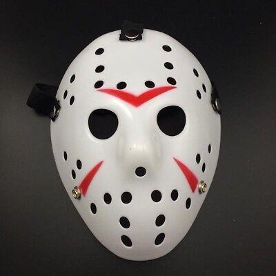 Ice Hockey Maske Halloween (Deluxe Hard Plastic Halloween Horror COSTUME MASK Ice-Hockey Design White)