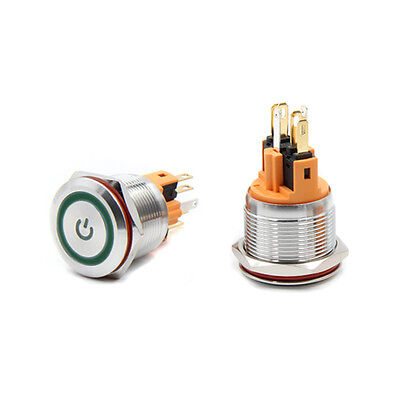 Metal Button 22mm Power Symbol 220v Self-locking Switch Green Led Light Onoff