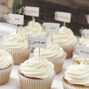 Wedding cupcake toppers cake decorating ebay vintage cupcake flags canape sticks food decorations wedding birthday tea party junglespirit Image collections