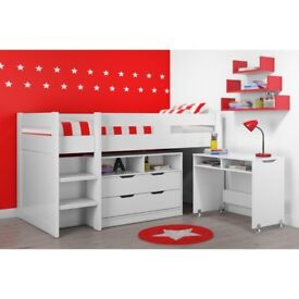 Brand New Cosmo Mid Sleeper Bed in White with Pull Out Desk