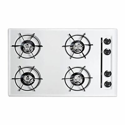"""30"""" wide gas cooktop in white, with four burners and gas spa"""