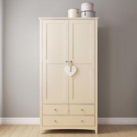 Farley 2 Door 3 Drawer Combi Wardrobe in Stone White/Cream