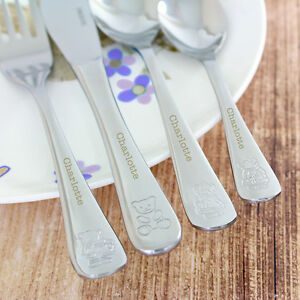 Personalised Childrens Cutlery Set Christening Gift - Childs Knife Fork Spoons
