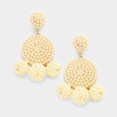 Designer Inspired Cream & Gold Beaded Triple Ball Statement Earrings