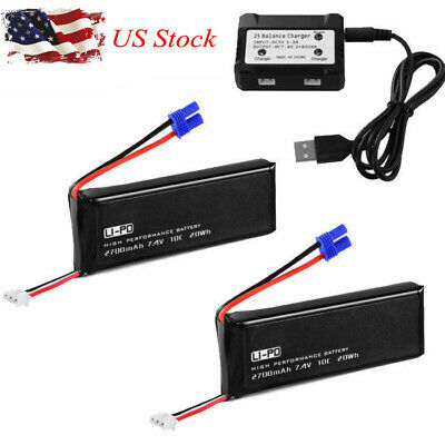 US 2700mAh 7.4V 10C LiPo Battery + 2S Balance Charger for Hubsan H501S Drone