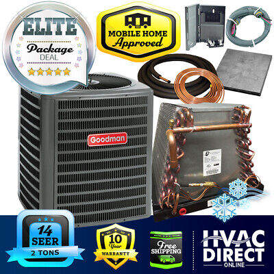 2 Ton 14 SEER Goodman Mobile Home Air Conditioner + Coil System, Line Set Kit