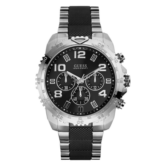 men s guess masculine chronograph stainless steel watch u0598g3 new guess watch for men chronograph black silver band tachymeter u0598g3
