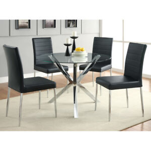 Kitchen Dining Table Glass Top With Chrome Legs