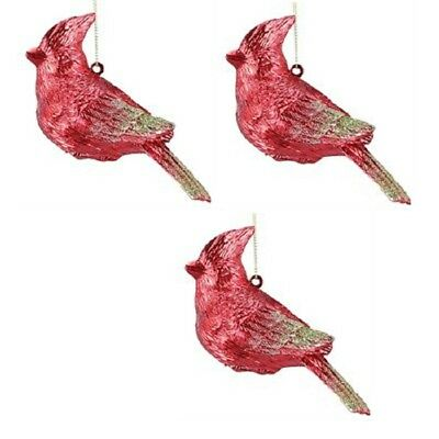 Bright Red Bird Cardinal Christmas Holiday Ornaments 4.75 Inch Set of - Cardinal Ornaments