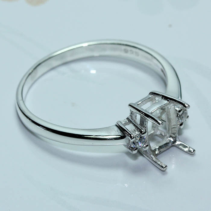 5x7 cushion semi-mount CZ ring silver 925 #186