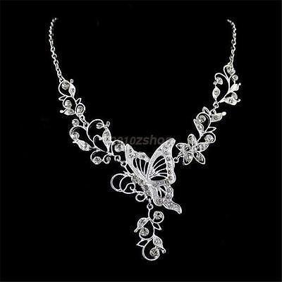 Hochzeit Strass Schmetterling Halskette+Ohringe Set Brautschmuck Set Silber