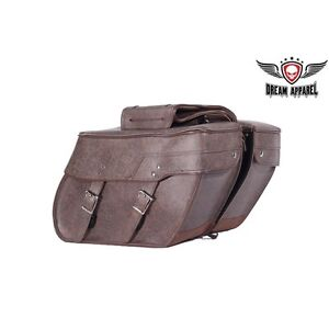 PVC Brown Motorcycle Saddlebag With Lock GET IT TODAY!!!