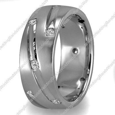 - Modern Design Low Dome His Hers Diamond Wedding Band Ring in 10K Gold 7mm 0.72Ct
