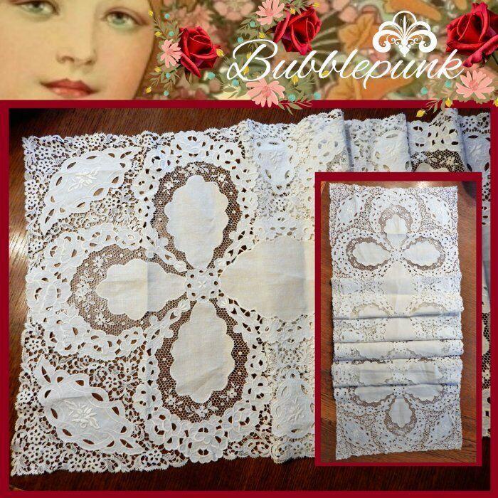 Superb Antique B&B Cottage Farmhouse Chic Linen Cutwork Bobbin Lace Inset Runner