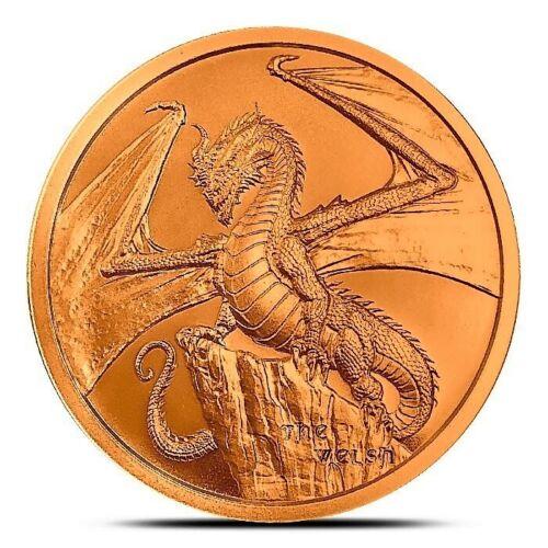 Welsh Dragon BU 1 oz Copper Coin, 2019 World Of Dragons Series #2, USA, Flashy!