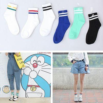 Trendy Socks (Couple Men Women Two-Striped Stripe Cotton Sport Athletic Socks Trendy Style)