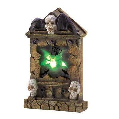 LED SKULL TOMB STONE Grave Stone Lighted Bat Graveyard Halloween Decoration Prop - Decoration Tombe Halloween