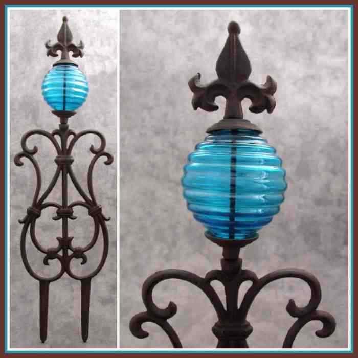 Blue Gl Globe Cast Iron Garden Stake