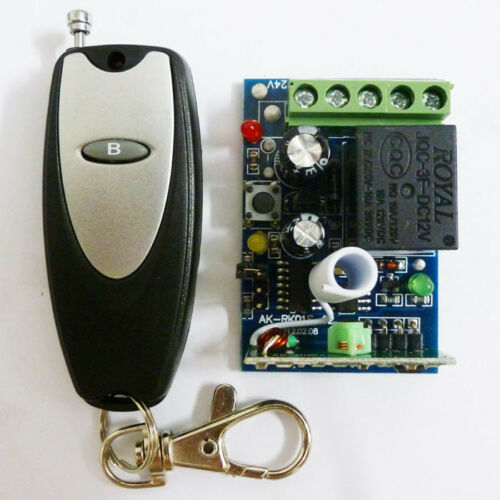1 Ch Learning Function RF Wireless Receiver 433.92MHZ DC12V & 1 Buttons Keyfobs