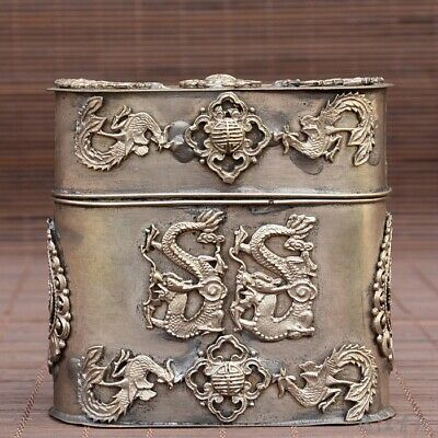 Collectable Chinese Miao Silver Hand-Carved Myth Dragon Precious Cigarette Case