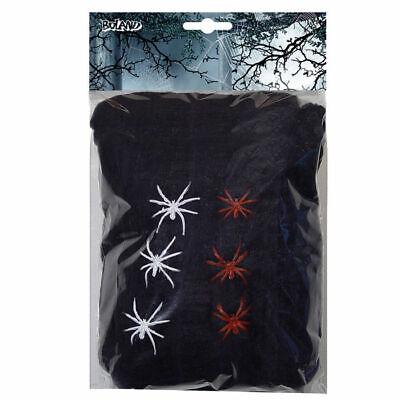 Spinnweben mit 6 Spinnen 100g, Halloweenparty Dekoration Spinnennetz Hängedeko ()