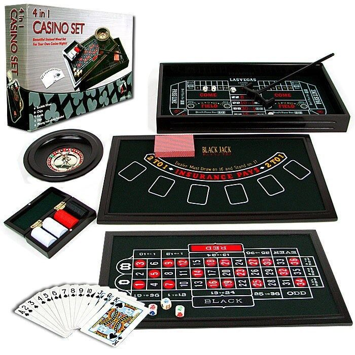 4 in 1 Casino Game Table Roulette Craps Poker Black Jack 19 x 11 Inches