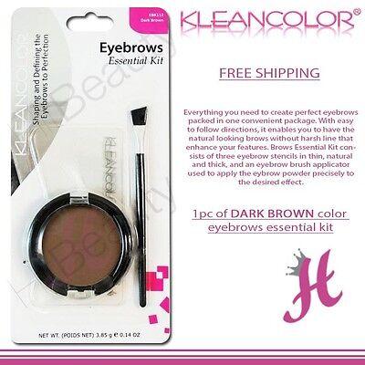 KleanColor Brows Essential Kit 3 Stencils 1 Dark Brown Eyebrow Powder 1 Brush