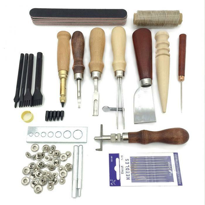 19Pcs leather craft punching set sewing saddle stitching engraving drilling kit