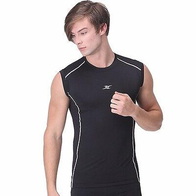 XL BLACK Mens Muscle Compression Shirts Top BASELAYER Slimfit Armour Tight
