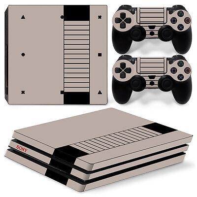 Sony PS4 PlayStation 4 Pro Skin Sticker Screen Protector Set - Retro NES Motif