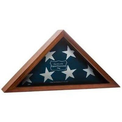 WALNUT AMERICAN FLAG DISPLAY CASE VETERAN MILITARY SHADOW BOX BURIAL FUNERAL](Flag Display Box)