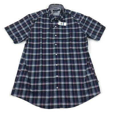Crimson Plaid - Nautica Mens Button Shirt Short Sleeve Big Tall Blue Red Plaid Variety Sizes
