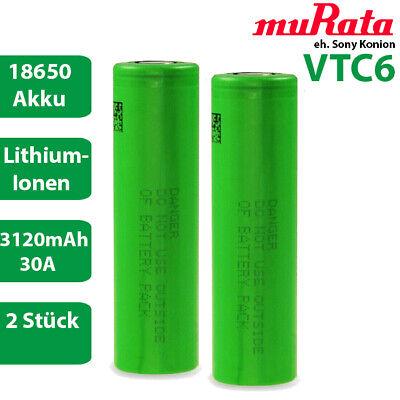 2 x Murata eh. Sony Konion US18650VTC6 Lithium Akku 3,7 V 18650 30A 3120mAh