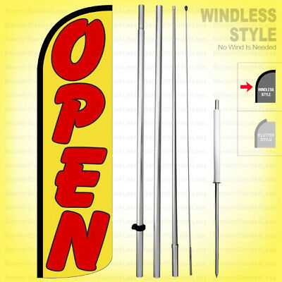 Open - Windless Swooper Flag Kit 15 Feather Banner Sign Yq55-h