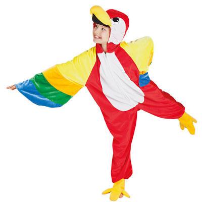 Papagei Kostüm Overall für Kinder mit Kapuze Gr. 104-116, 128-140, 152-164 Vogel