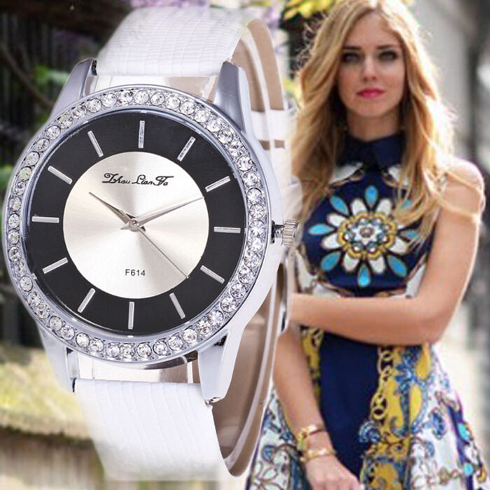 $3.57 - Luxury Women Stainless Steel Leather Crystal Diamonds Quartz Analog Wrist Watch
