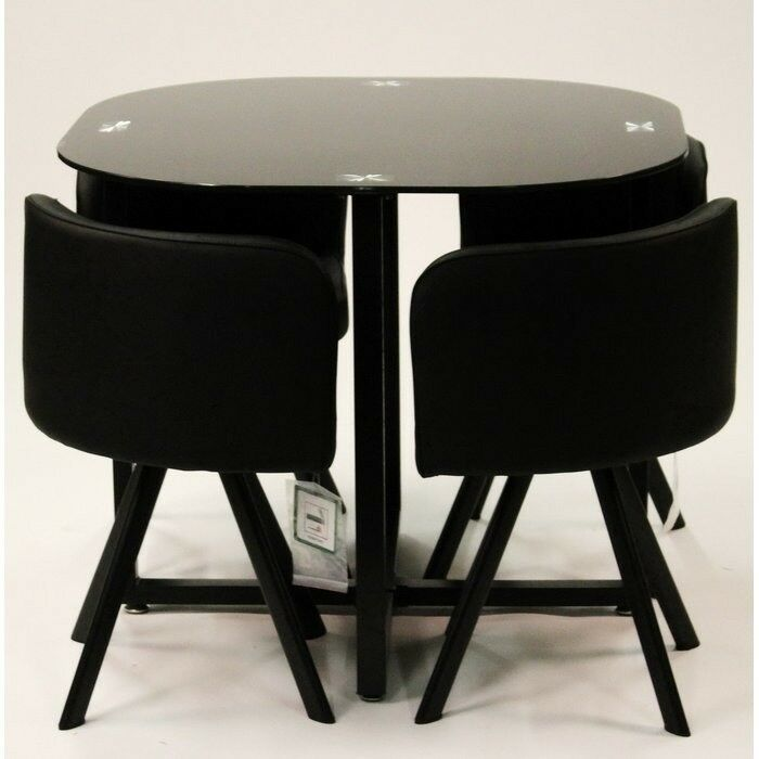 Black Gloss Hideaway Dining Table And Chairs By Charles