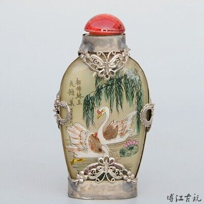 Collect Old Miao Silver Armour Glass Hand-Carved Butterfly Noble Snuff Bottle for sale  Shipping to Canada
