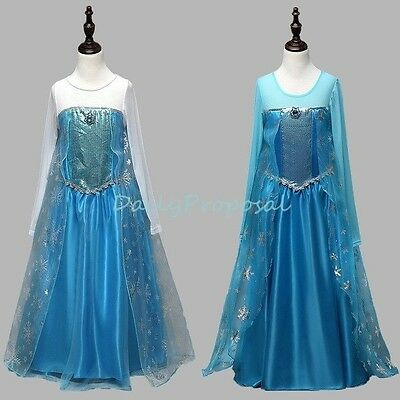 FE14 Elsa Snow Queen Dress Halloween Costume Frozen Girl Kid 2T-10 2 Color USA - Snow Queen Elsa Dress