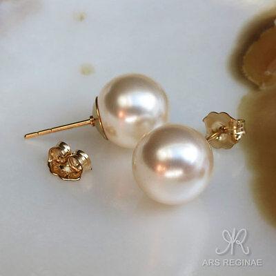 STABIL & GLÄNZEND ● 10mm ● SC Perlen weiß Ohrstecker ygf 14k Gold 585