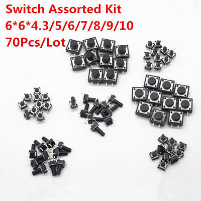 70pcs 6x6x6 Mm Onoff Touch Button Micro Switch Assorted Kit Dip 4 Pin 665