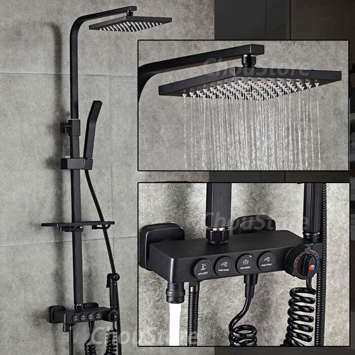 Details About Square Matte Black Thermostatic Rain Shower Head Bath Mixer Faucet Tap Tub Set