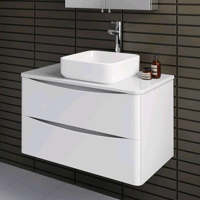 New Wall Hung Bathroom Sink Basin Vanity Unit Cabinet White Gloss