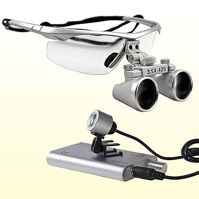3.5x 420 Dental Surgical Binocular Loupes Led Dental Head Light Lamp Silver Bs