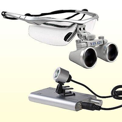 3.5x 420 Dental Surgical Binocular Loupes Led Dental Head Light Lamp Silver Bs