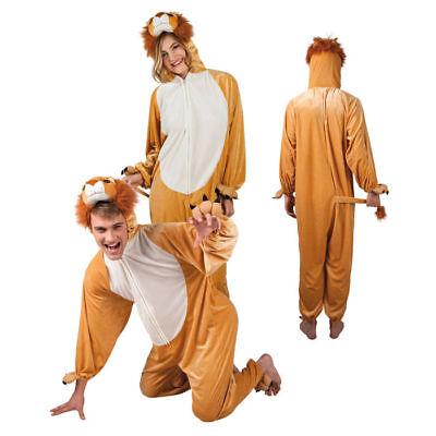 Löwenkostüm Overall mit Kapuze für Damen und Herren flauschiges Karnevalskostüm