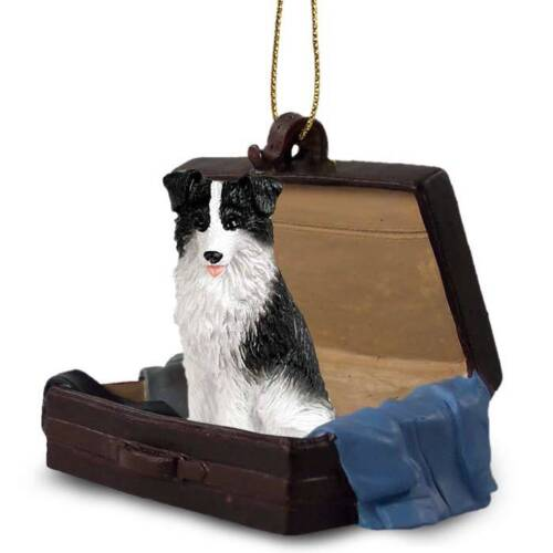 Border Collie Traveling Companion Dog Figurine In Suit Case Ornament