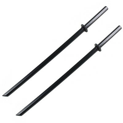 "Set of 2 40"" Black Wooden Samurai Sword Bokken Practice Training Katana w/ Guard"