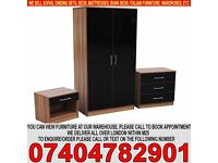 BRAND NEW High Gloss Set with 2 Door wardrob, chest of drawer+ bedside